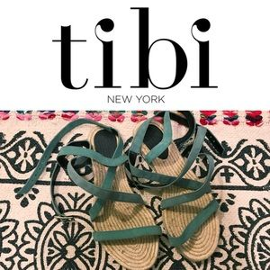 Tibi New York mint green suede sandals size 6